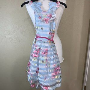 Knitworks Girls Floral Shadow Stripes Blue Size 10